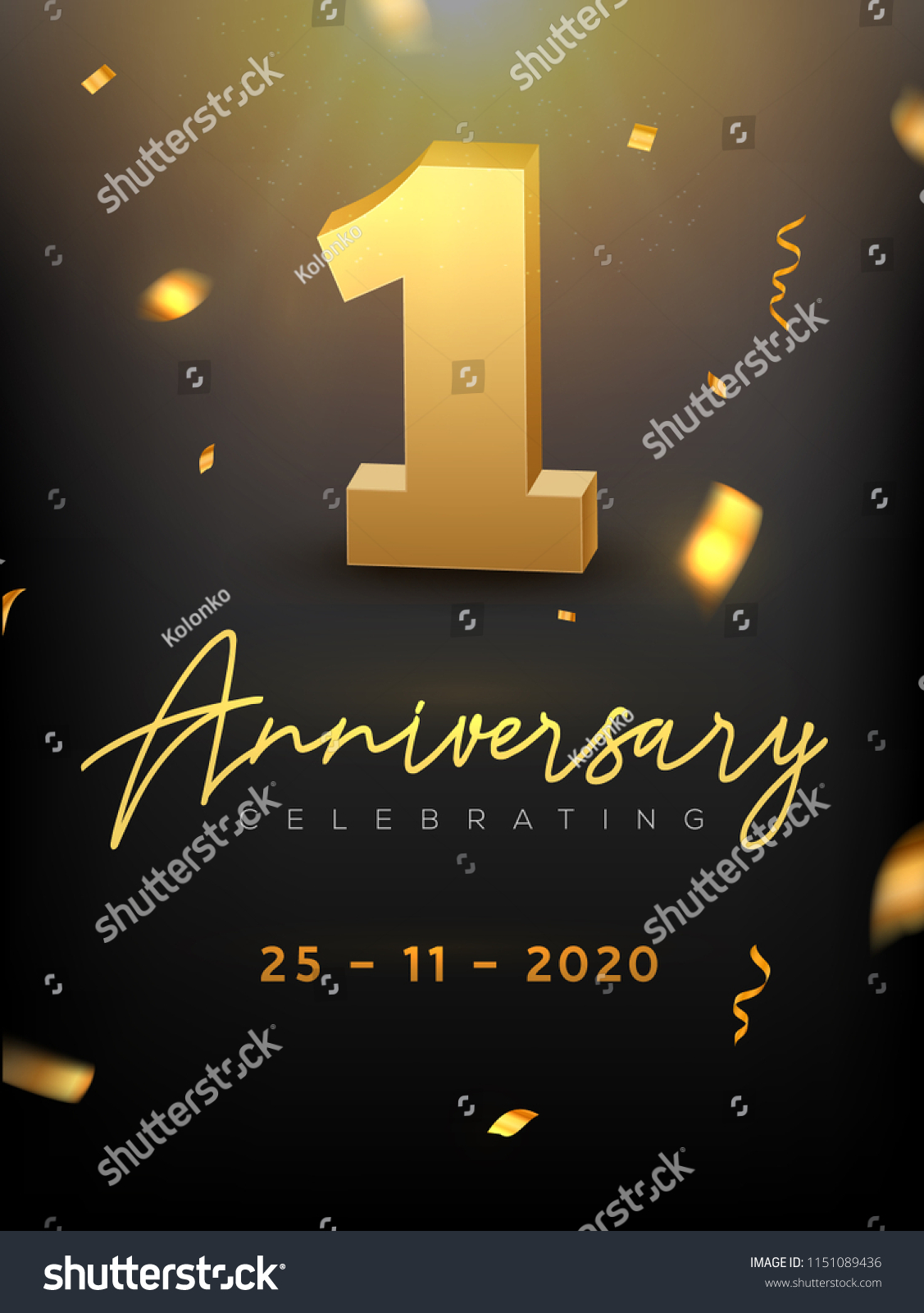 1st Year Anniversary Celebration Event Golden Stock Vector Royalty Free 1151089436