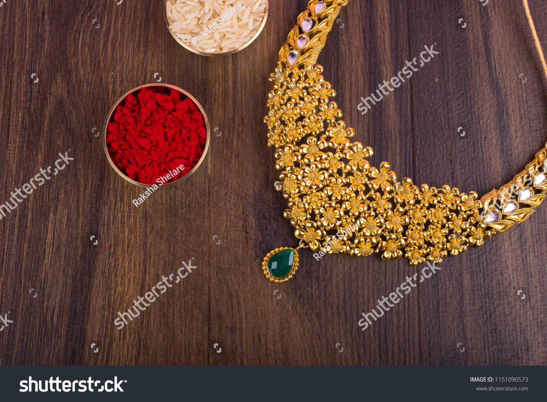 Indian Traditional Gold Jewellery Necklace Kumkum Stock Photo