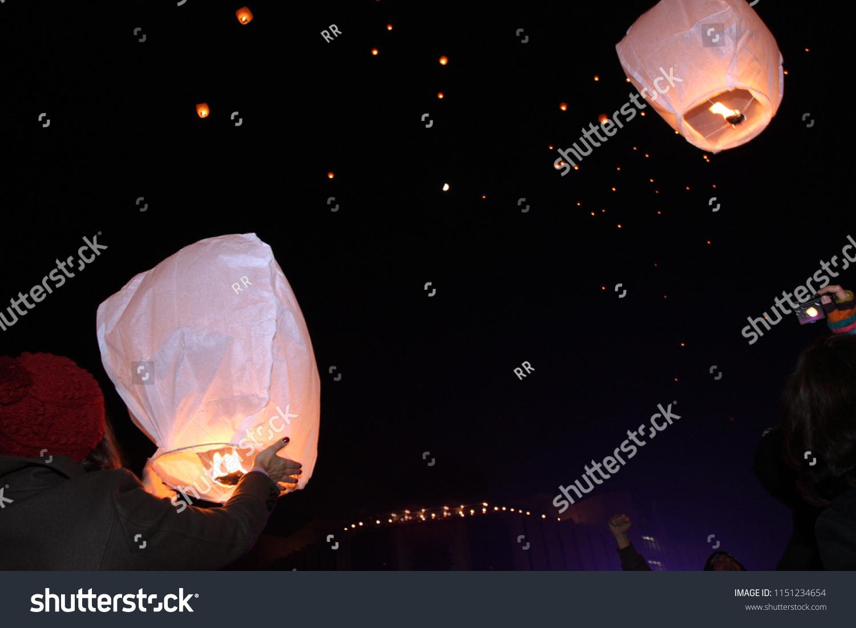 Sky Lanterns Floating Sky Deepavali Lights Stock Photo Edit Now 1151234654