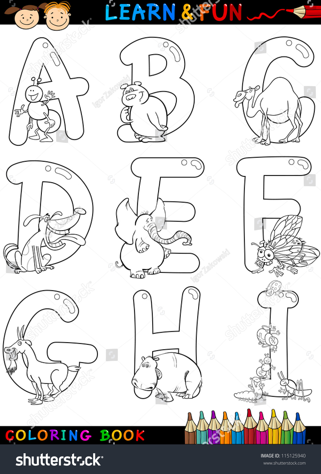 cartoon alphabet coloring book or page set with funny animals for children education and fun - Alphabet Coloring Book