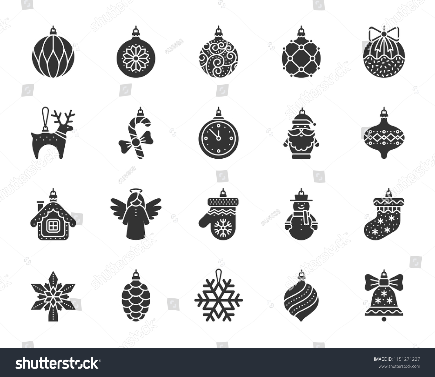 Xmas Tree Decorations Glyph Icons Set Stock Vector Royalty Free