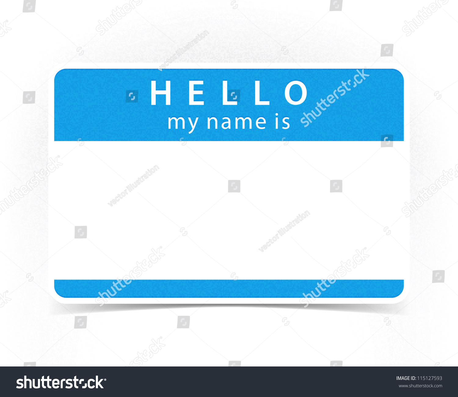 Blue color name tag blank sticker HELLO my name is with drop gray ...