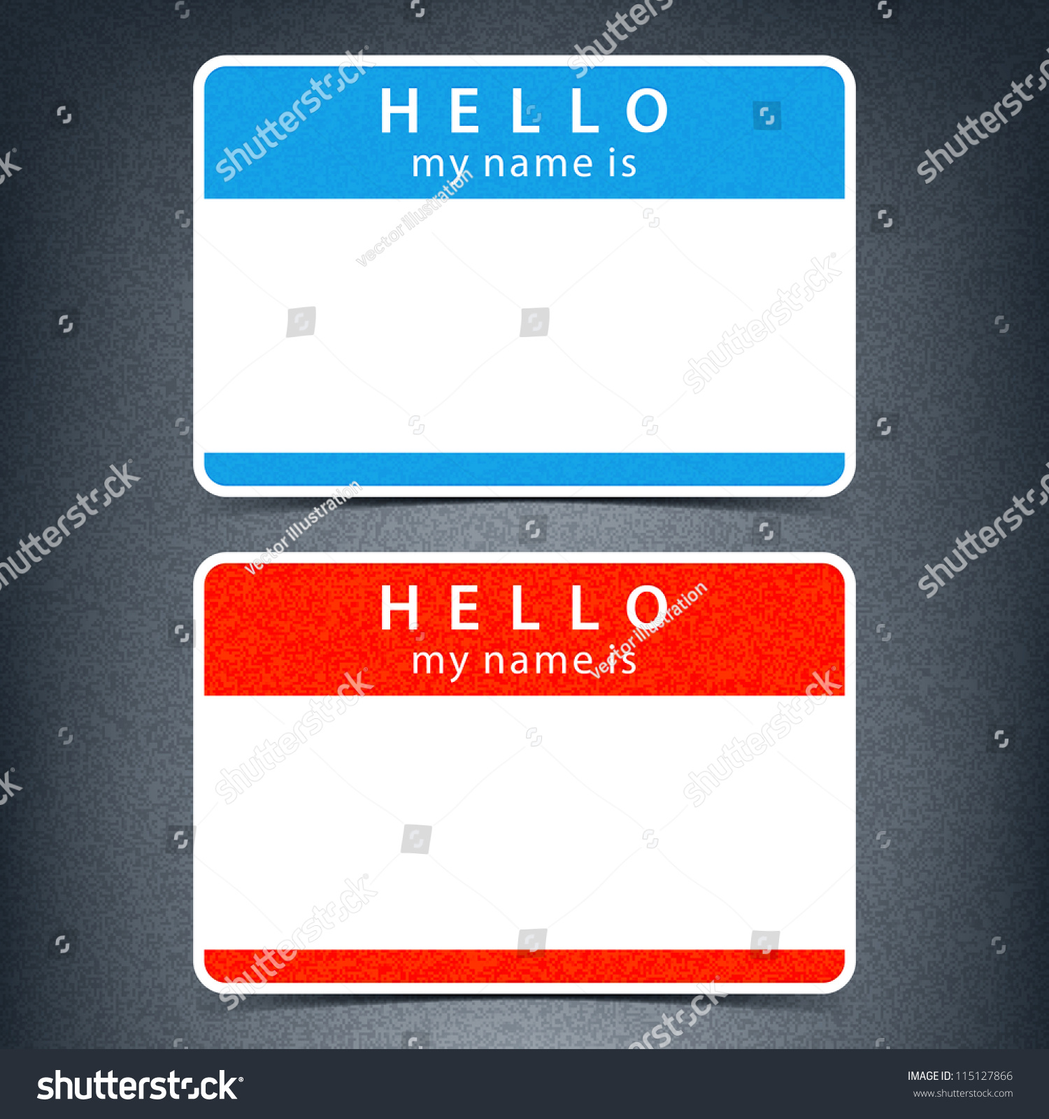 H tag background image - Blue And Red Name Tag Blank Sticker Hello My Name Is With Drop Black Shadow On