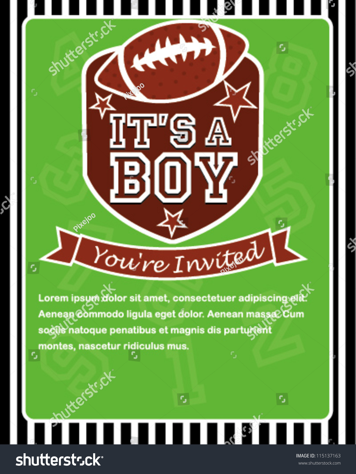Sports Football Baby Shower Invitation Card Design