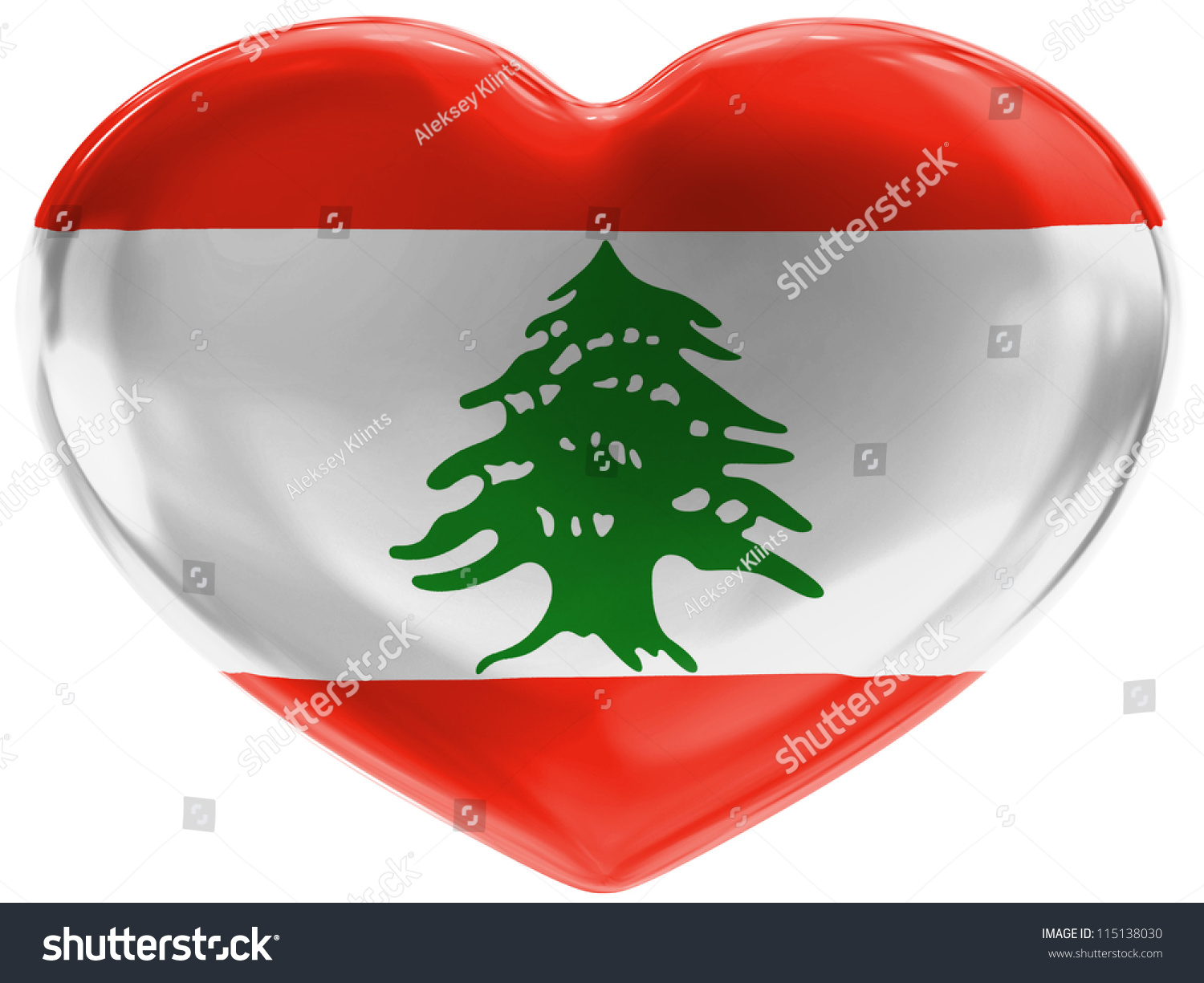 the lebanese flag painted on 3d heart symbol on white