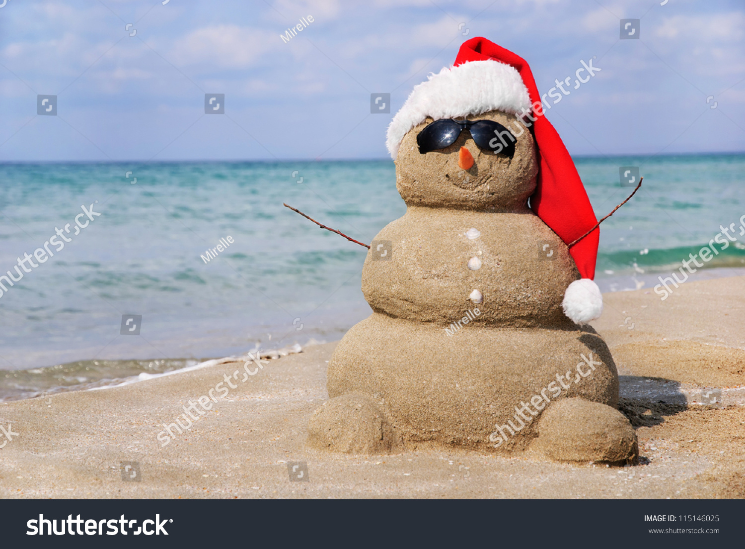 Royalty-free Snowman made out of sand. Holiday… #115146025 Stock ...
