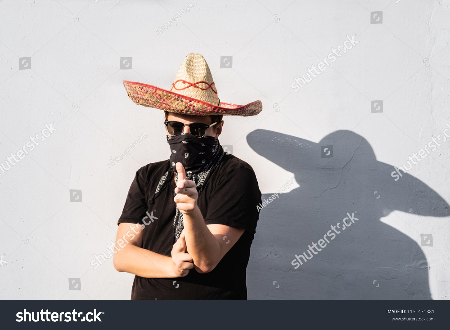 young male person dressed traditional sombrero stock photo (edit now