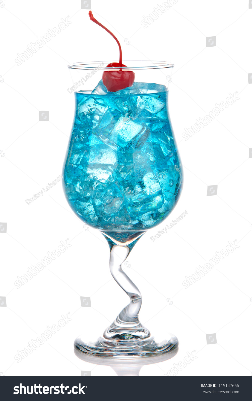 Blue Hawaiian Lagoon Cocktail With With Malibu Rum Blue