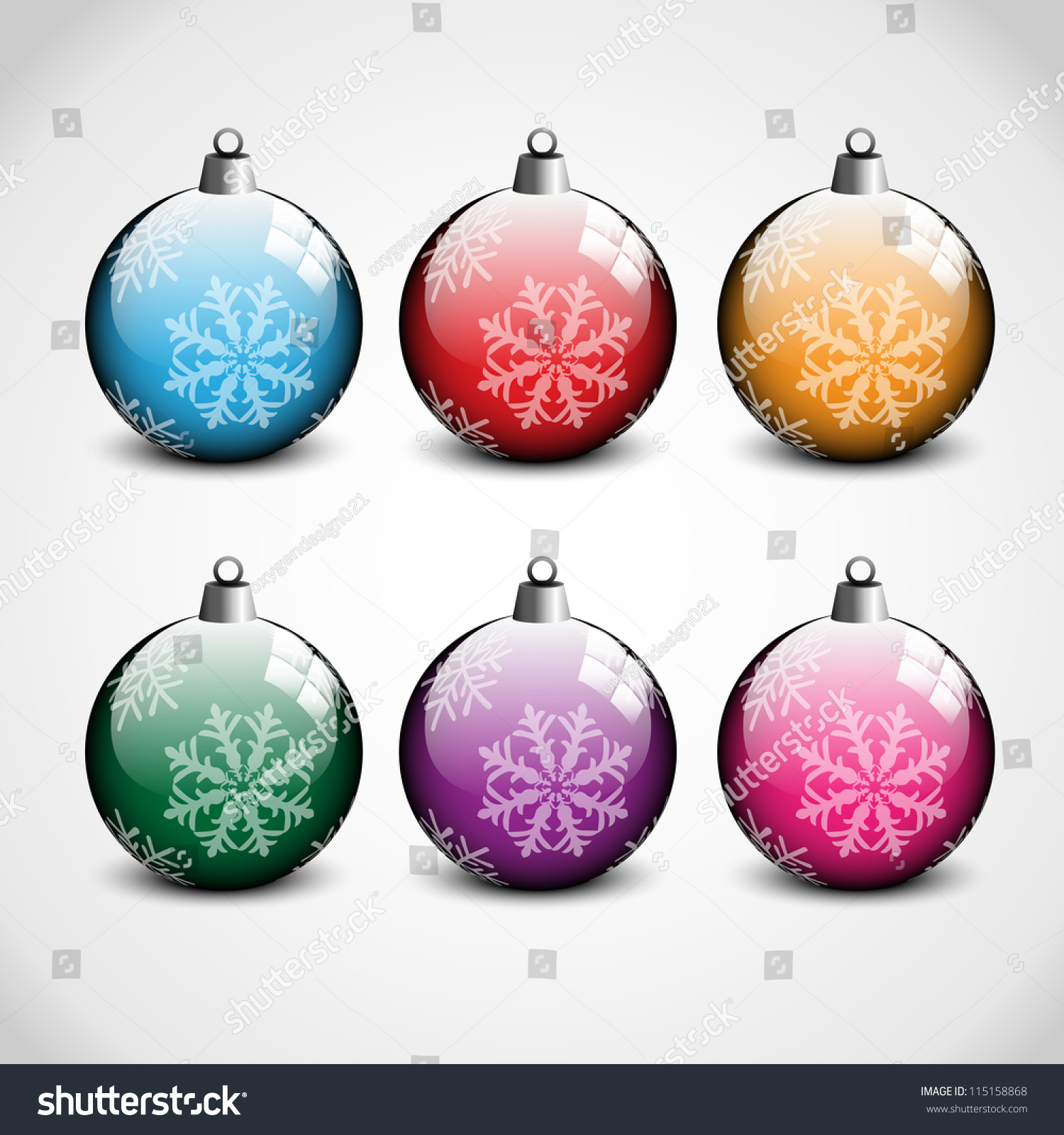 Christmas Ornaments Blue Red Orange Green Stock Vector ...