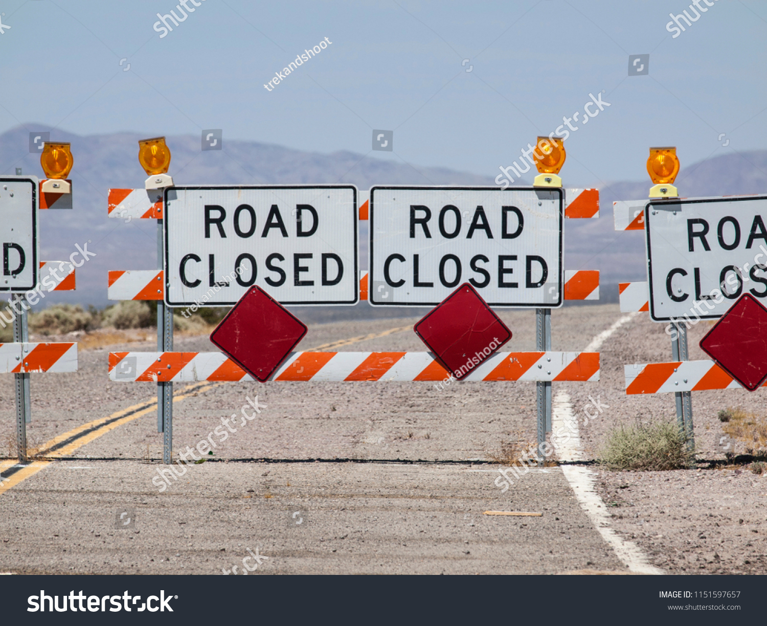 Highway Road Closure Signs Barricades Near Stock Photo (Edit Now