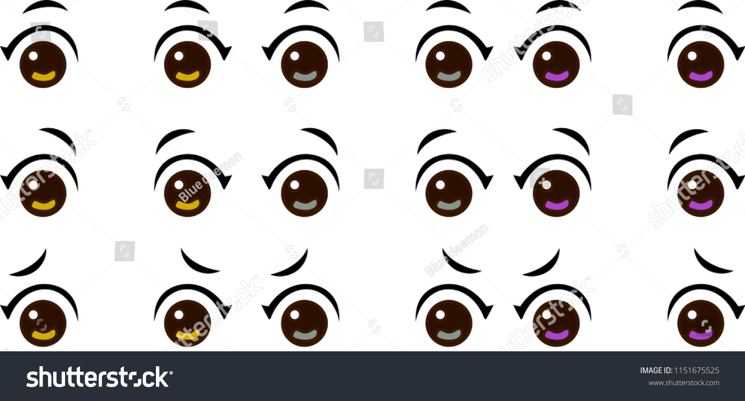 Animated girls eyes set 1