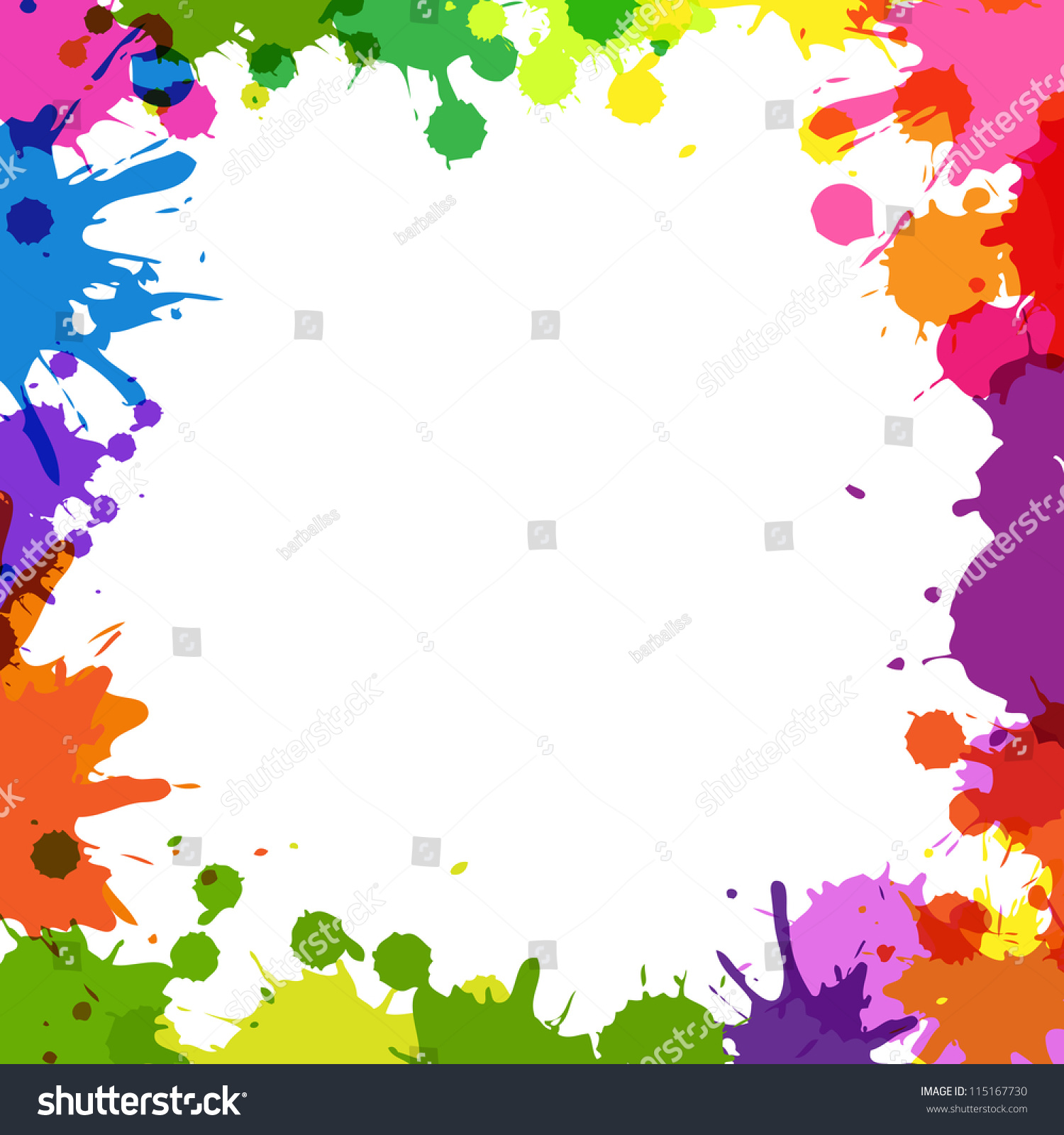 frame with color blobs isolated on white background vector illustration