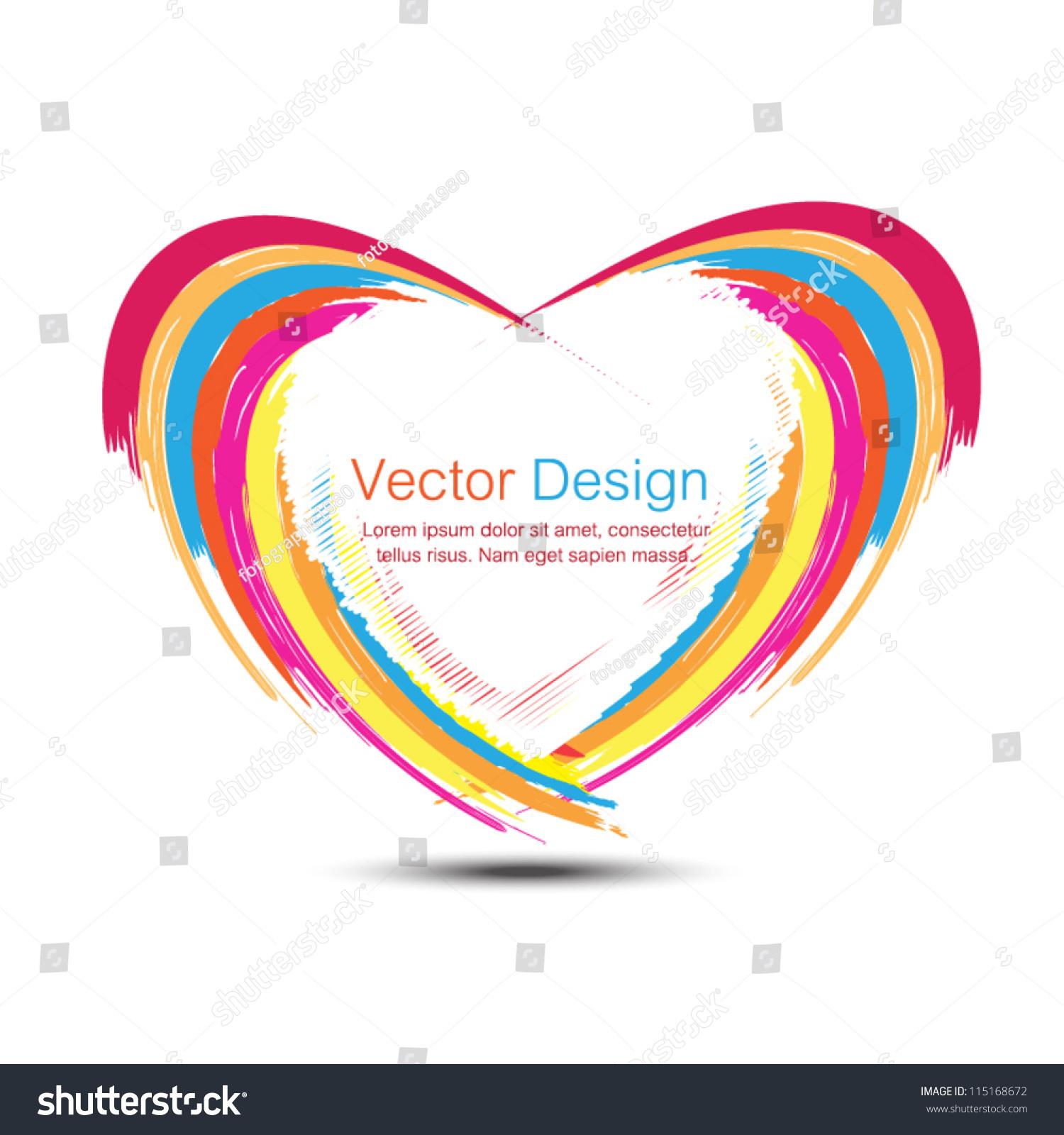 Vector Abstract Rainbow Heart Frame Design Stock Vector (Royalty ...