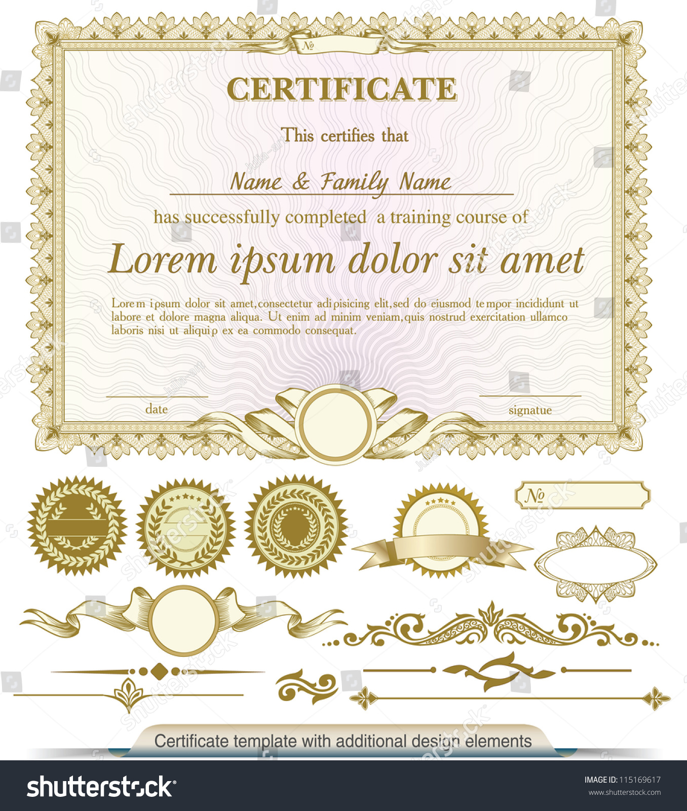 Gold Horizontal Certificate Template Additional Design ...