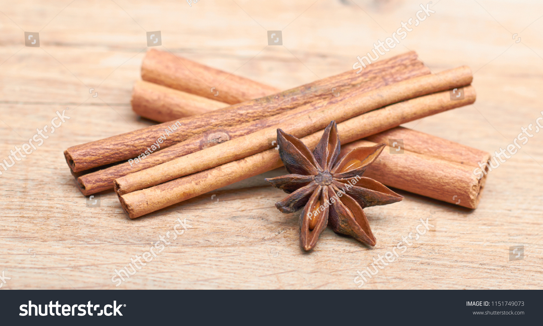 Spicy Sticks Cinnamon Starry Anise Lie Stock Photo (Edit Now