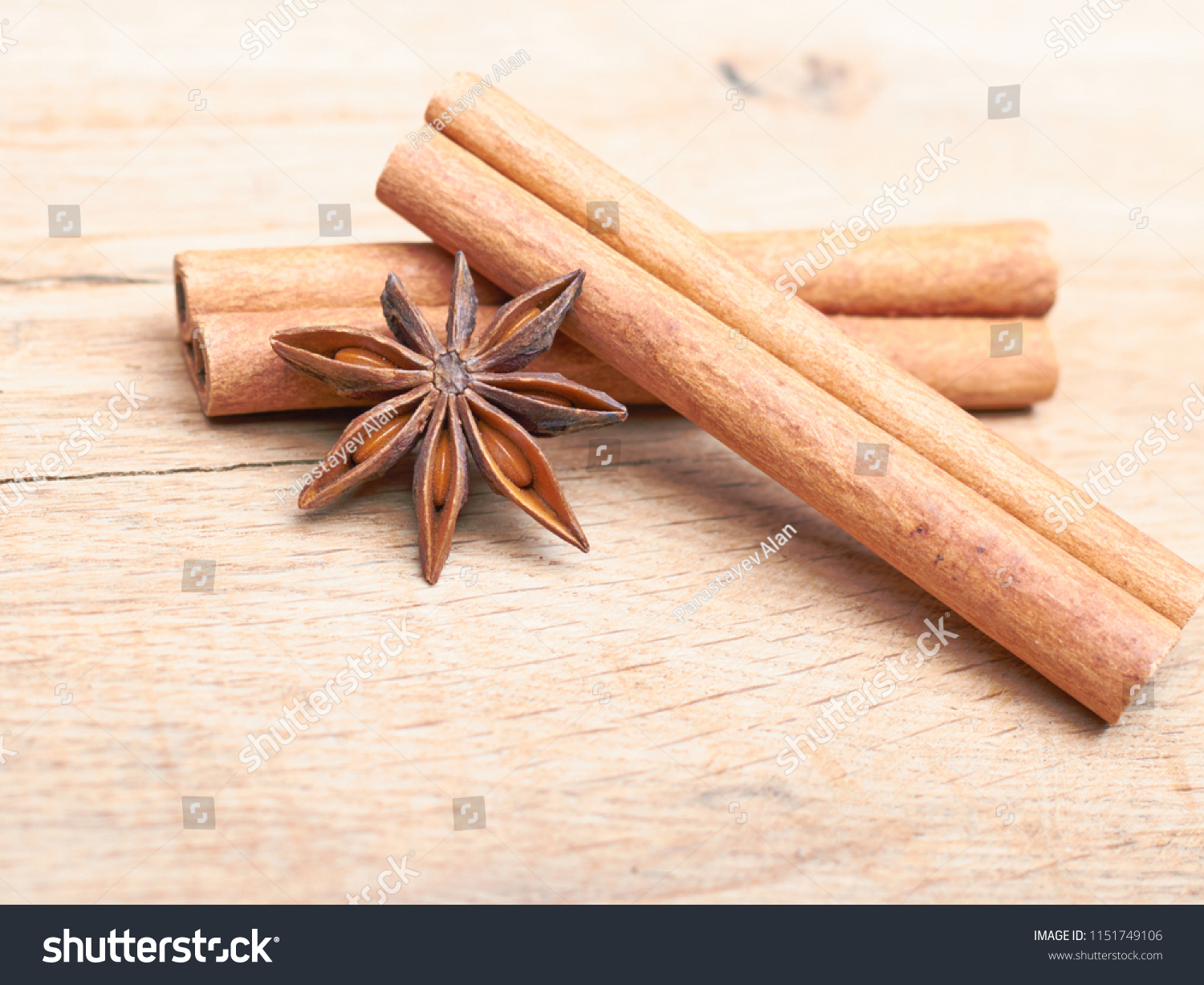 Two Spicy Sticks Cinnamon Anise Lie Stock Photo (Edit Now