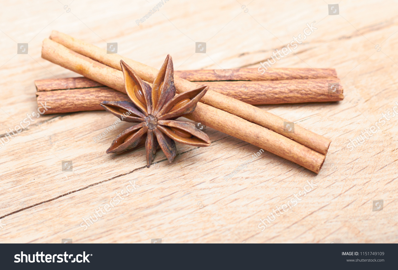 Spicy Sticks Cinnamon Anise Star Lie Stock Photo (Edit Now) 1151749109