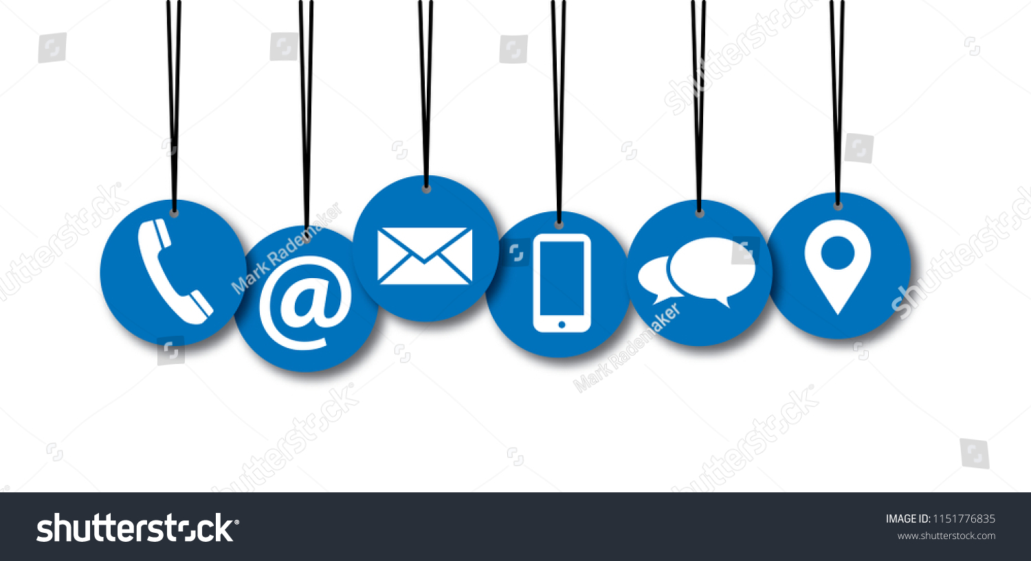 Contact Us Symbols Social Media Network Stock Illustration