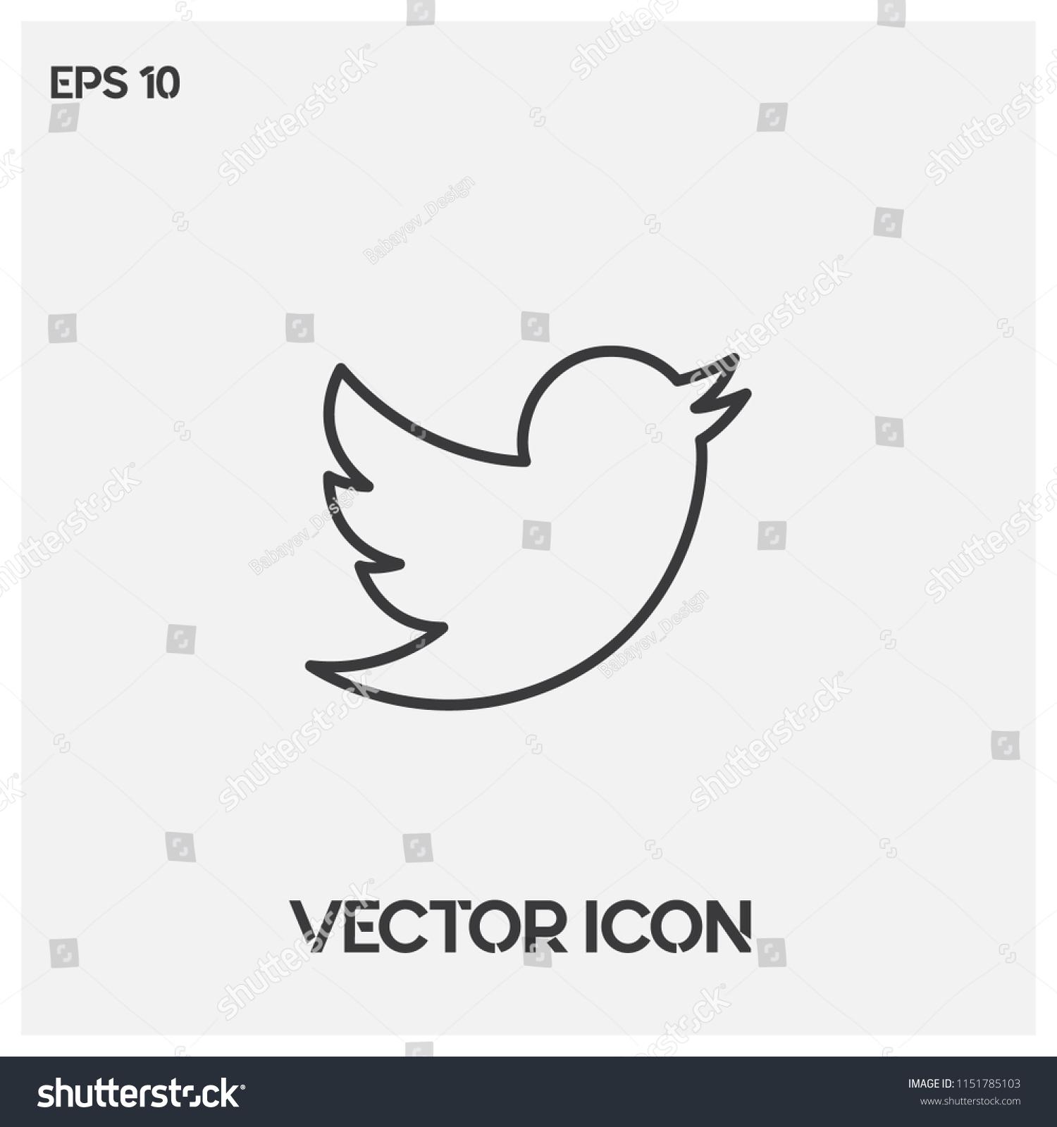 Twitter Bird Vector Icon Twitter Logo Symbol Social Stock Vector