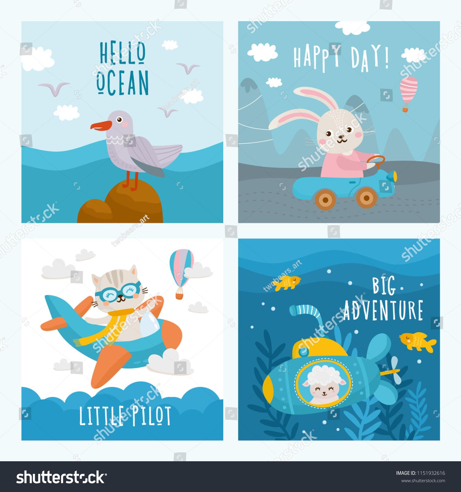 Set Beautiful Childish Card Baby Birthday Stock Vector Royalty Free