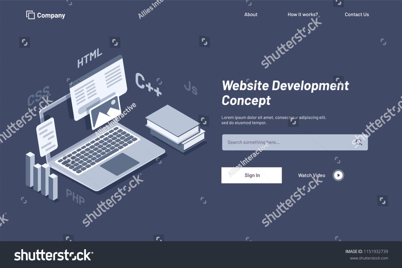 Isometric Illustration Laptop Browser Window Website Stock