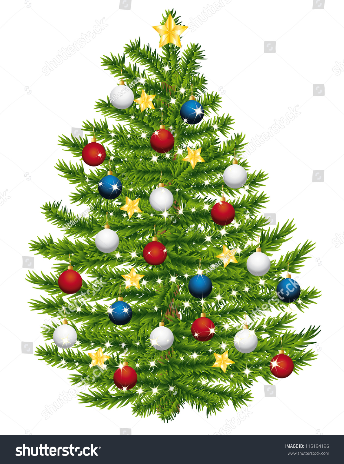 christmas tree decorated with red white and blue ornaments