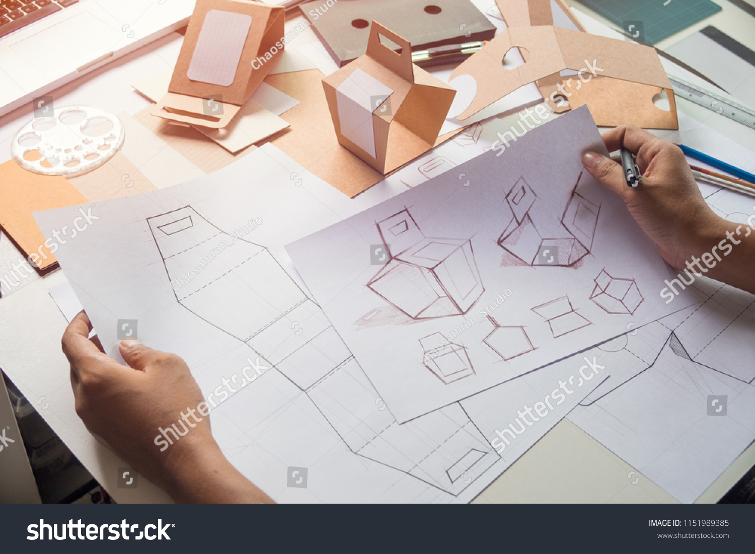 Designer Sketching Drawing Design Brown Craft Stock Photo Edit Now