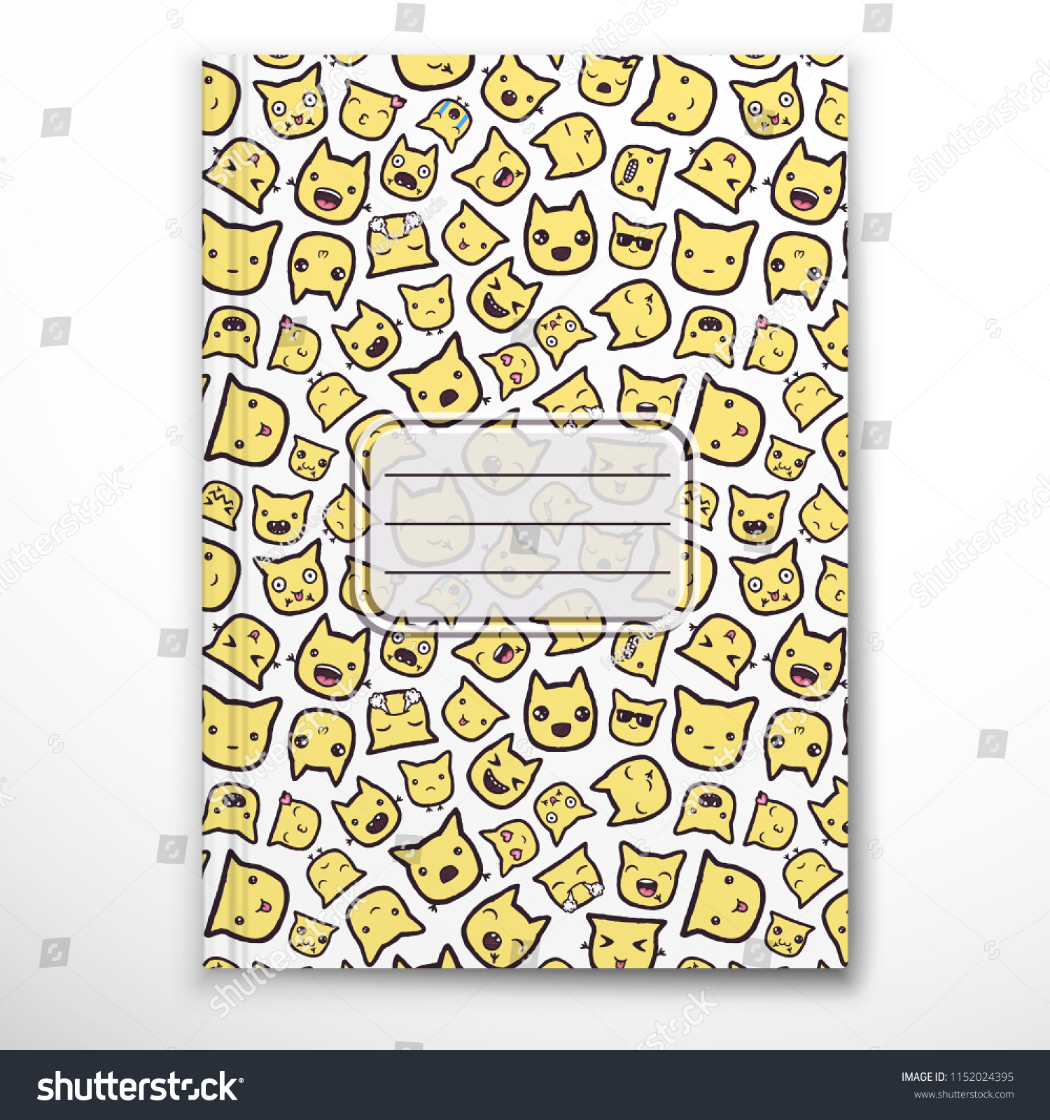 Notebook Cover Template Emoji Handdrawn Doodles Stock Vector