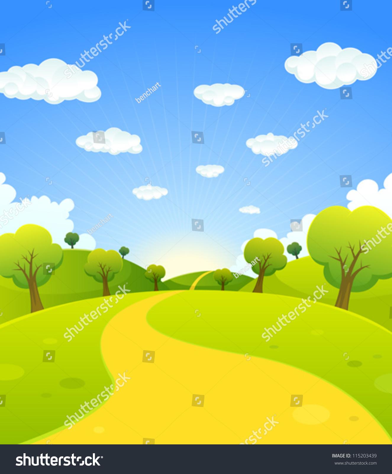 Landscape Illustration Vector Free: Spring Or Summer Cartoon Landscape/ Illustration Of A