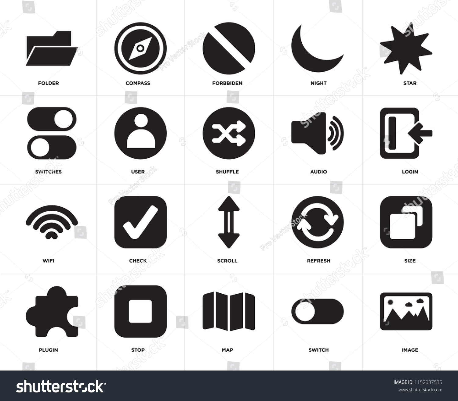 Set 20 Icons Such Image Switch Stock Vector (Royalty Free