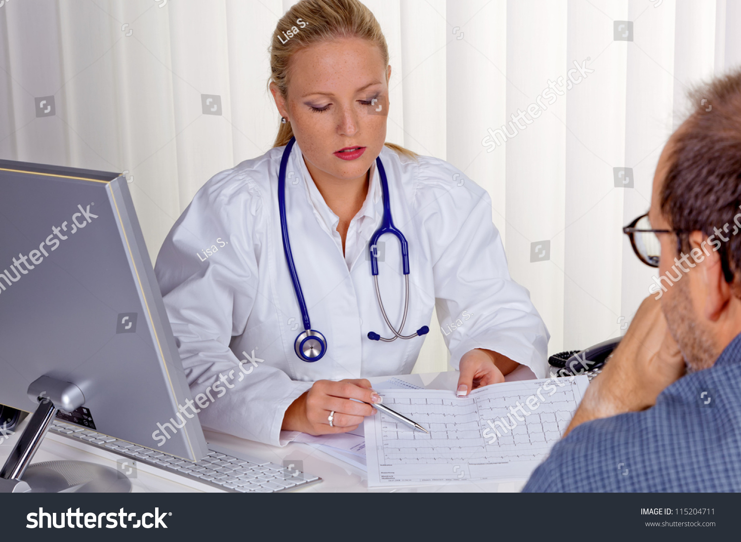 a young female doctor stethoscope in her doctor s office in save to a lightbox