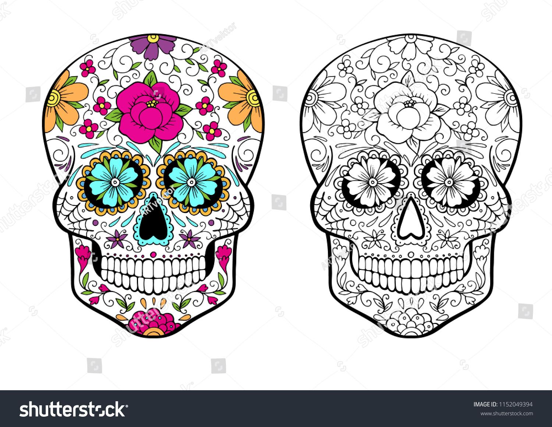 - Sugar Skull Coloring Page Color Example Stock Vector (Royalty Free