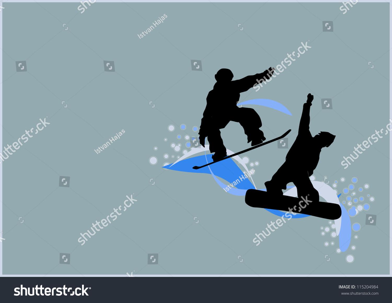 winter sport poster man snowboard background stock illustration