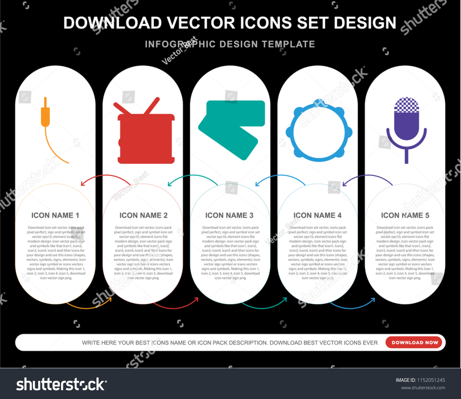 5 Vector Icons Such Audio Jack Stock Vector Royalty Free