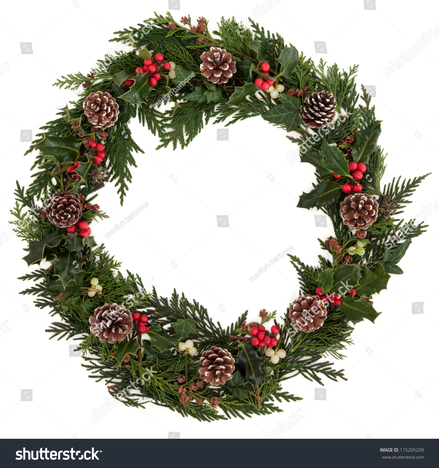 Christmas Decorative Wreath Holly Ivy Mistletoe Stock ...