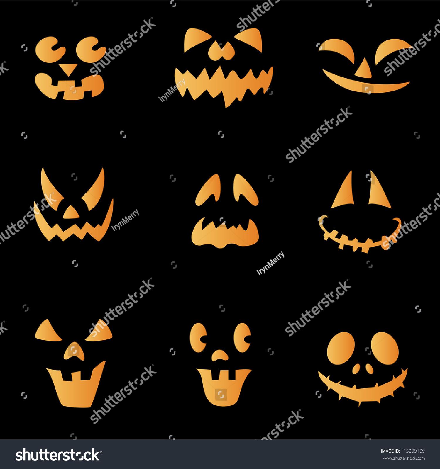 scary faces of halloween pumpkin vector - Halloween Scary Faces