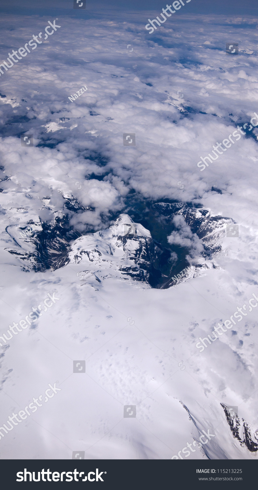 Aerial View Through Clouds Earth Stock Photo 115213225 ...