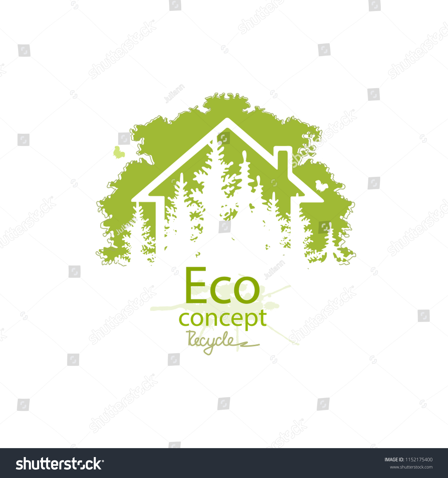 Logo Design Template Forest House Building Stock Vector Royalty