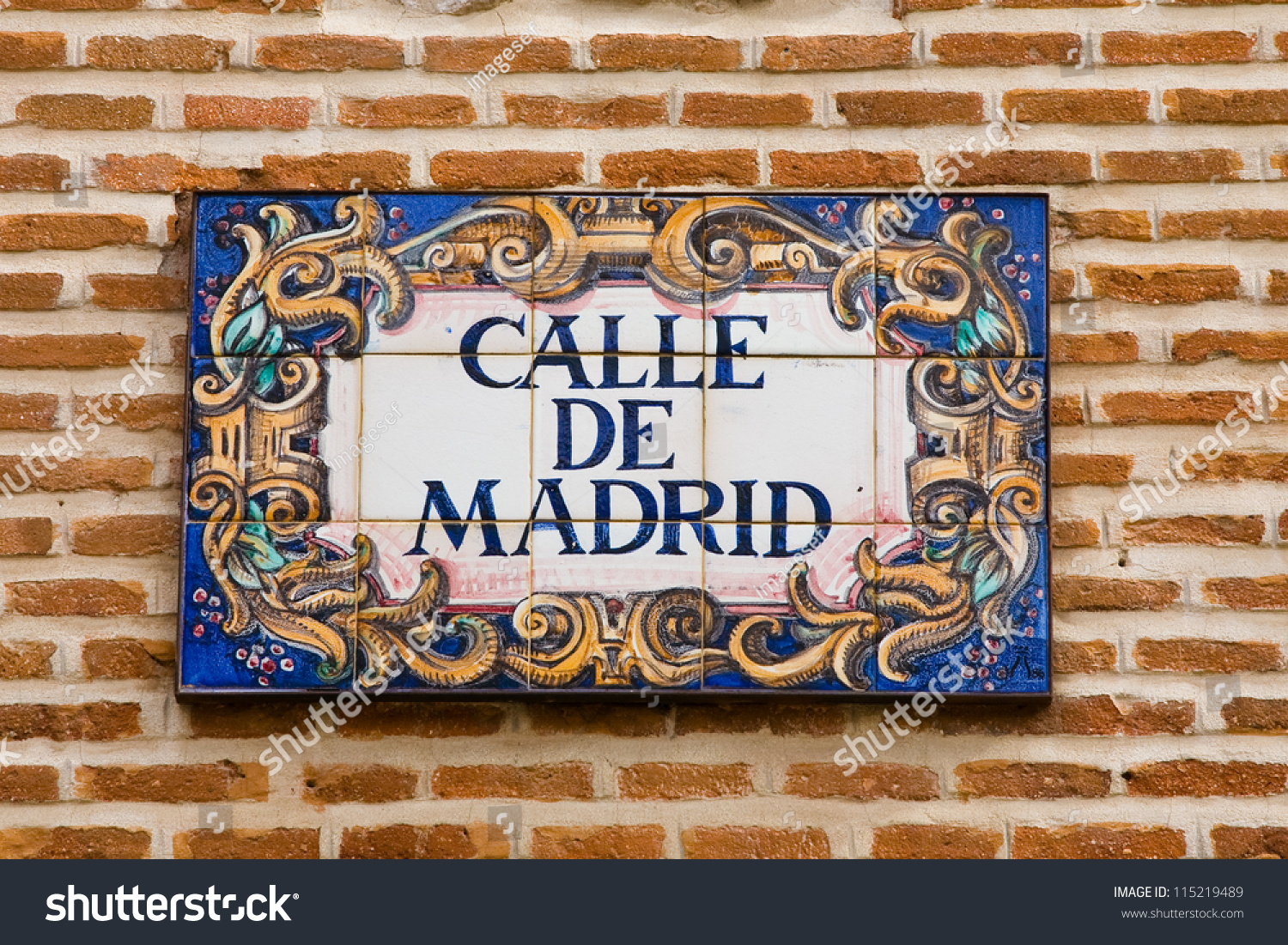 Ceramic tile madrid street name spain stock photo 115219489 a ceramic tile with madrid street name spain dailygadgetfo Gallery