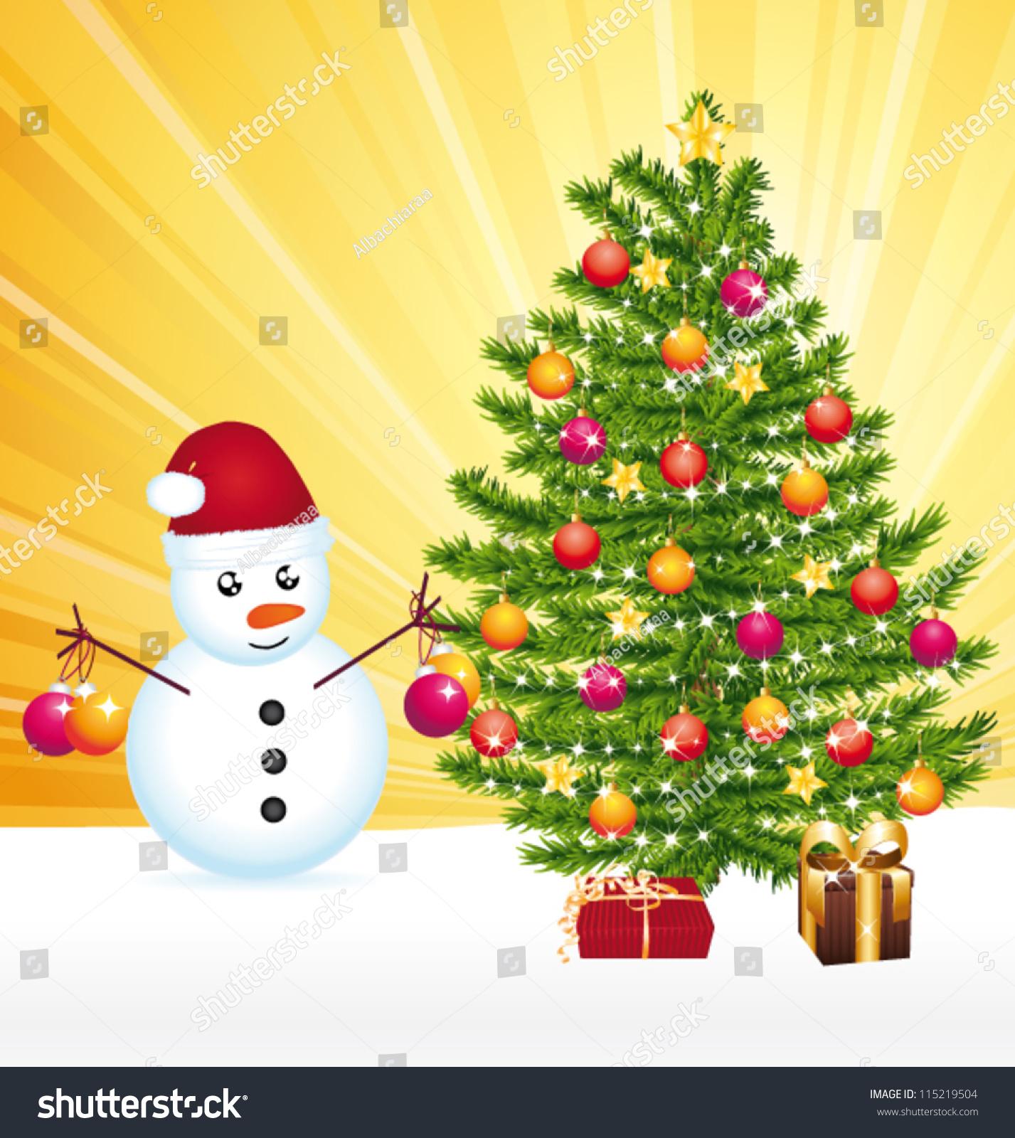 Snowman Decorating Joyful Christmas Tree Vector Stock Vector ...
