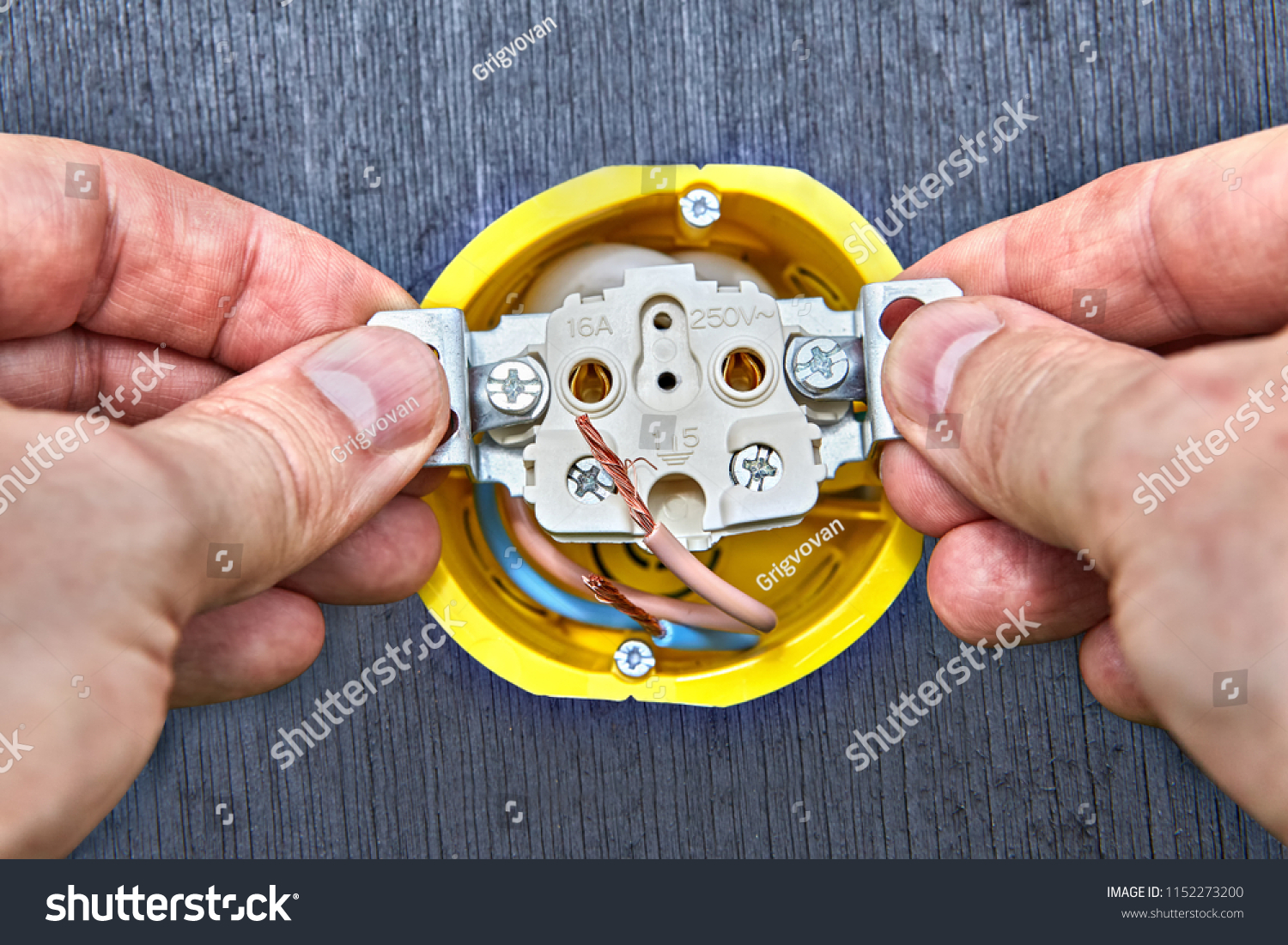 Installation Wall Electric Socket Yellow Outlet Stock Photo Edit Electrical Wiring For Of In Box Domestic