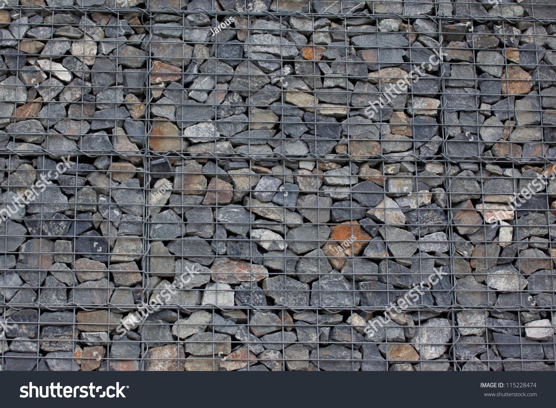 gabion wall made grey stones stock photo 115228474 shutterstock. Black Bedroom Furniture Sets. Home Design Ideas