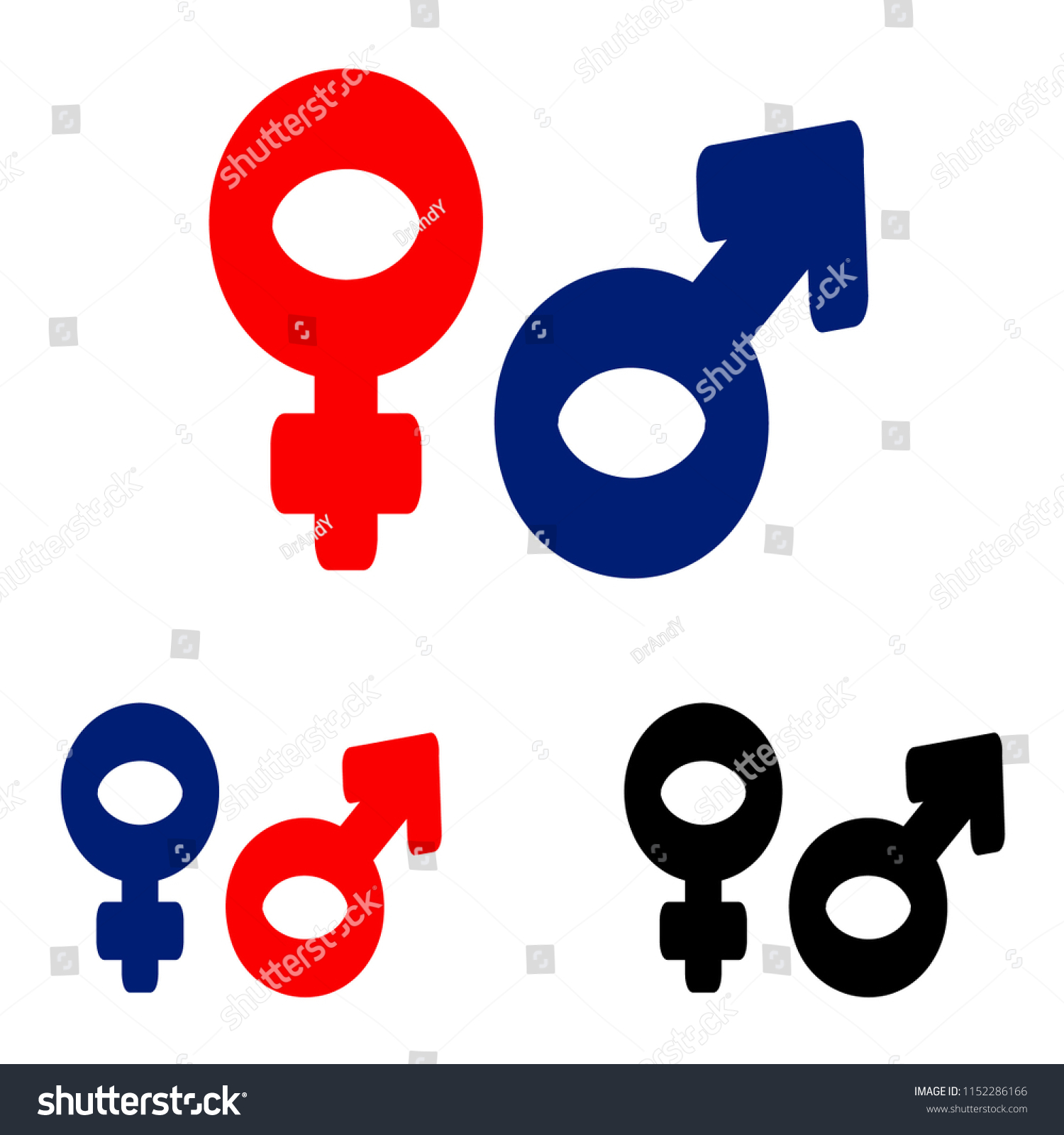 Hand Drawn Male Female Symbols Isolated Stock Vector Royalty Free