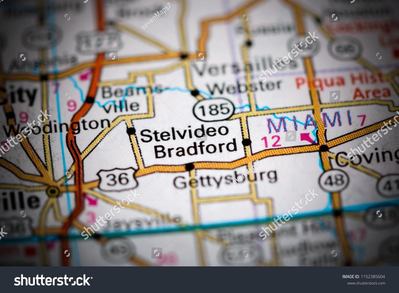 Bradford Ohio USA On Map Stock Photo (Edit Now) 1152385604
