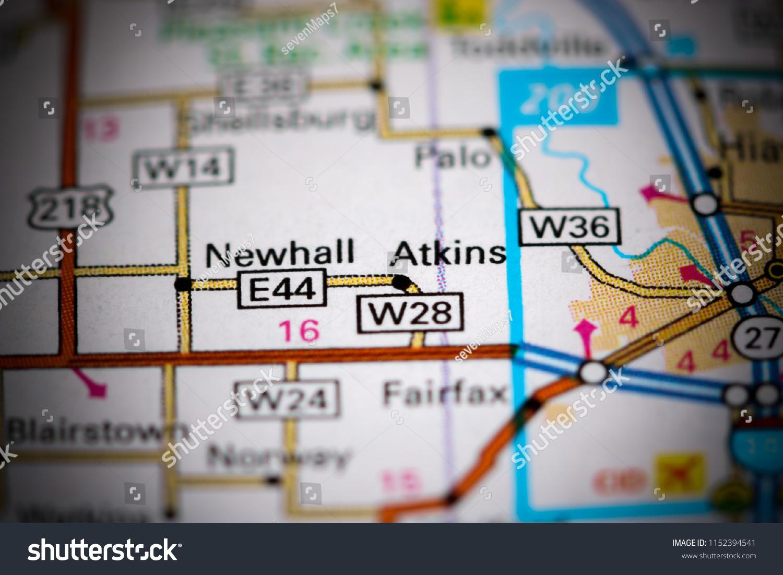 Atkins Iowa USA On Map Stock Photo (Edit Now) 1152394541