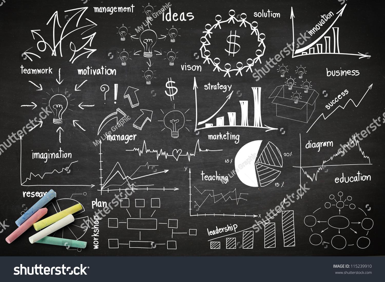Writing business idea concept on blackboard stock photo