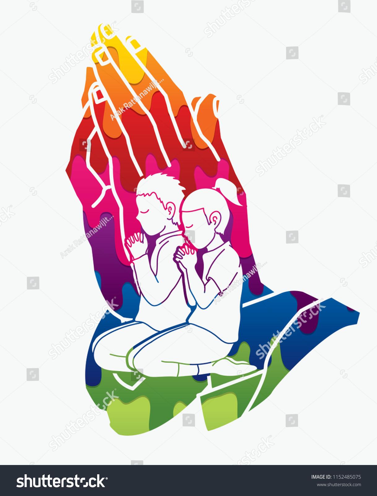 Alabanzas Cristianas De Adoracion vector de stock (libre de regalías) sobre oración de niño y