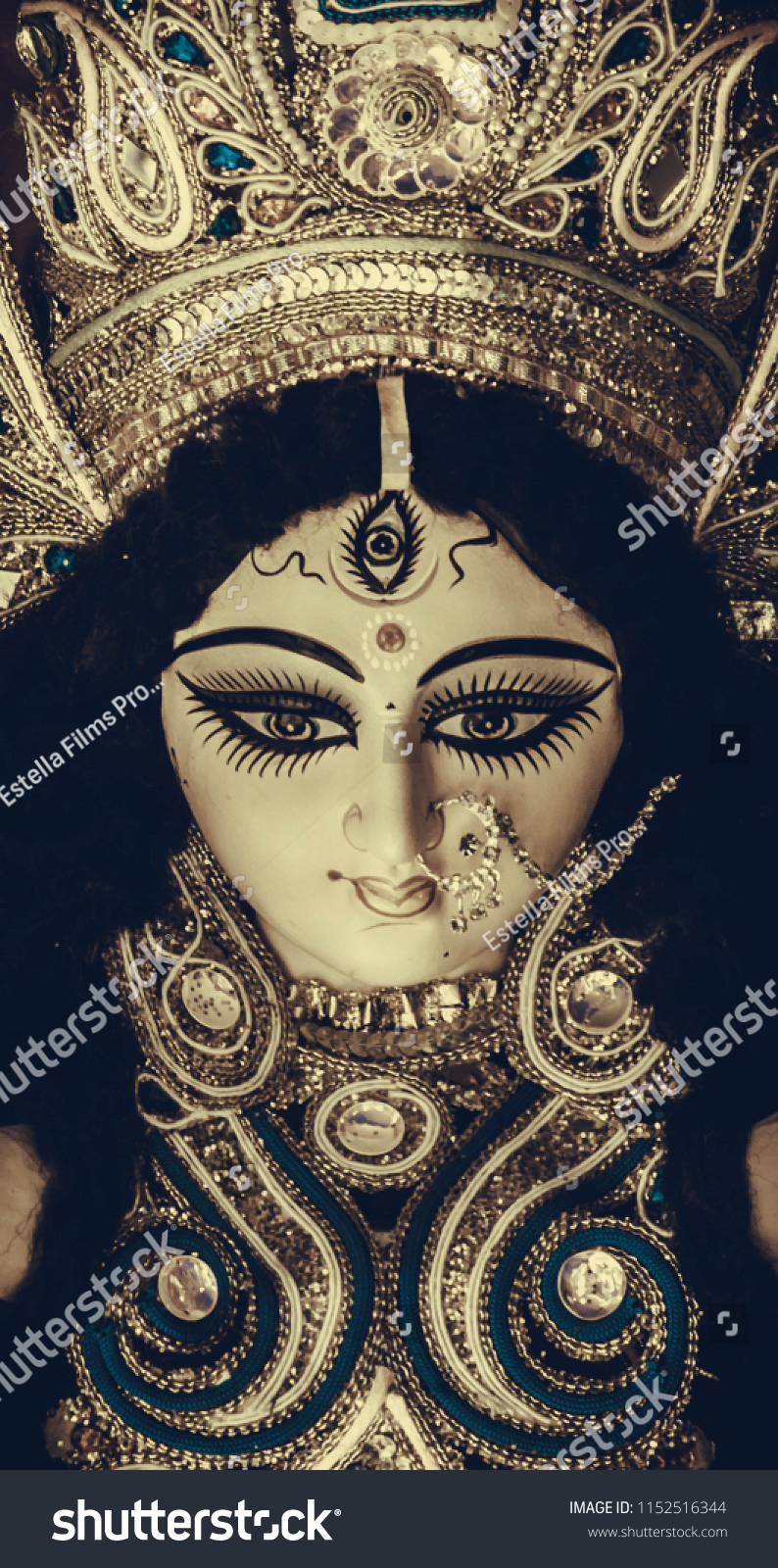 Idol Durga Maa Mobile Wallpaper Durga Stock Photo Edit Now 1152516344