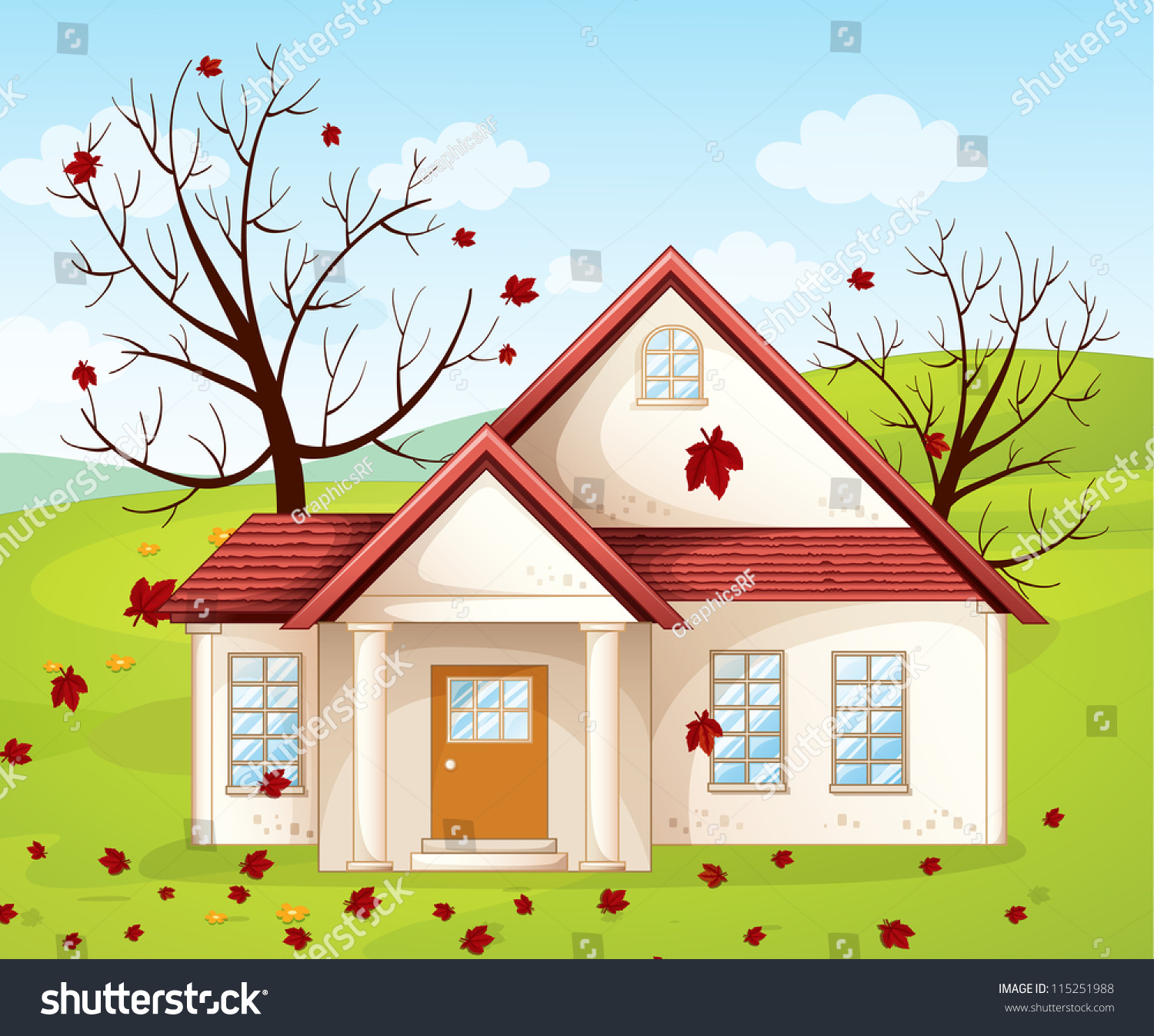 Illustration of a house in a beautiful nature 115251988 for Beautiful house music