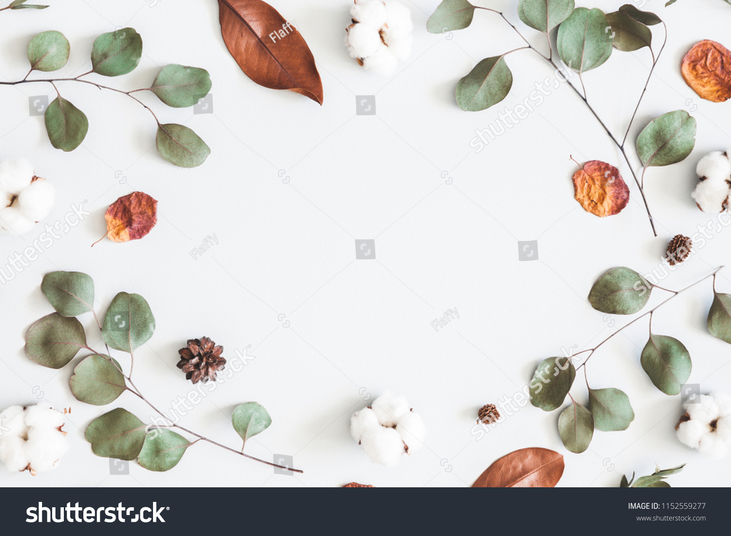 Autumn composition. Frame made of eucalyptus branches, cotton flowers, dried leaves on pastel gray background. Autumn, fall concept. Flat lay, top view, copy space #1152559277